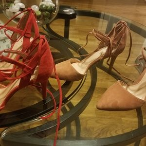 2 Pairs Vince Camuto laced suede Bellamy pumps